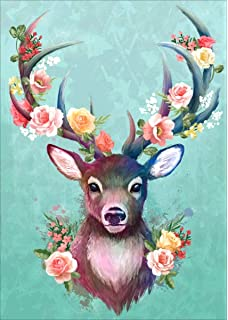 MXJSUA 5D Diamond Painting by Number Kit DIY Crystal Rhinestone Cross Stitch Embroidery Arts Craft Picture Supplies for Home Wall Decor,Watercolor Sika Deer 12x15inches