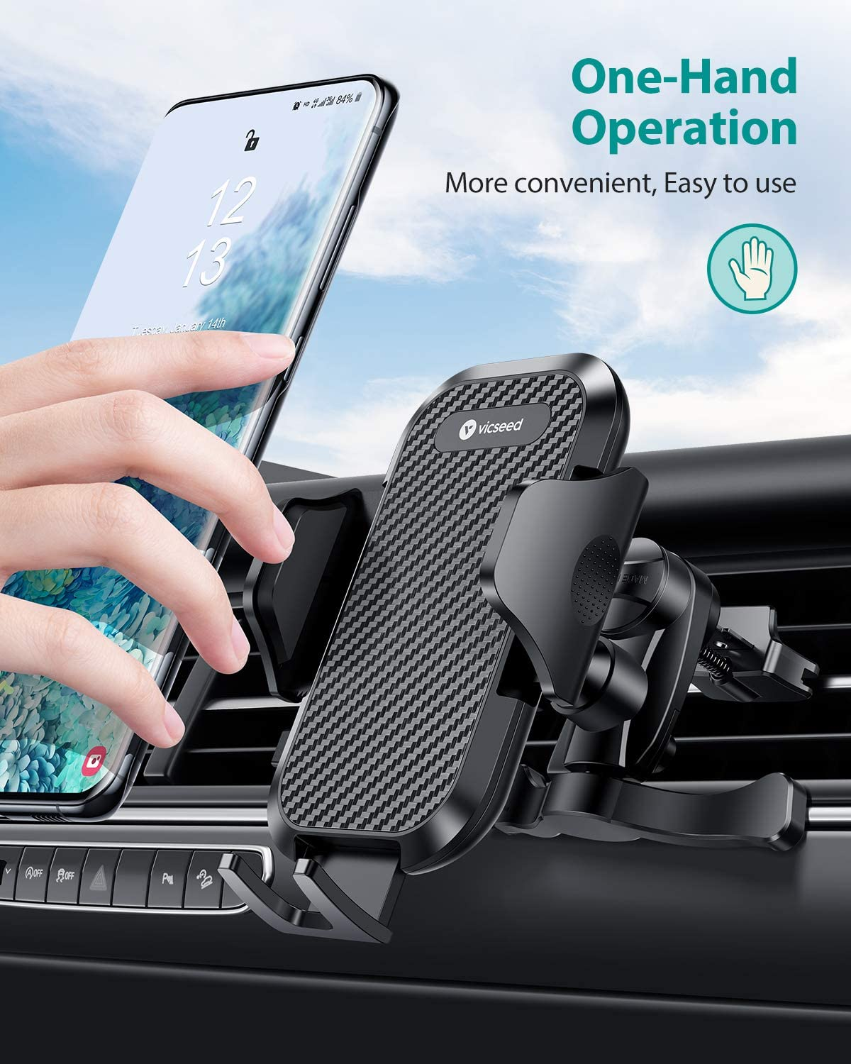 All Phones VICSEED 2020 Upgrade Ultra Stable Car Phone Mount Easy Clamp Universal Car Phone Holder Air Vent Cell Phone Holder for Car Fits for iPhone SE 11 Pro X XS Max XR Galaxy S20 S20 Note 10 10