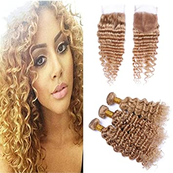 Brazilian Bundles With Closure #27 Honey Blonde Color Human Hair Weave 3 Bundles Curly Hair Extensions With 4x4 Lace Closure Hair Extensions & Wigs 3/4 Bundles With Closure