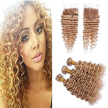 Brazilian Bundles With Closure #27 Honey Blonde Color Human Hair Weave 3 Bundles Curly Hair Extensions With 4x4 Lace Closure Hair Extensions & Wigs