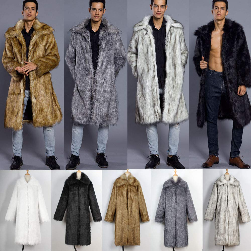 iLXHD Mens Faux Fur Trench Coat Jacket Parka Thicker Warm Outwear Cardigan at Amazon Mens Clothing store: