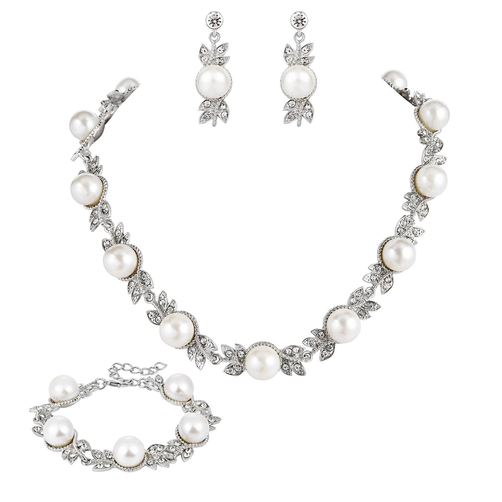 BriLove Wedding Bridal Simulated Pearl Necklace Earrings Jewelry Set for Women Crystal Cream Floral Leaf Collar Necklace Dangle Earrings Tennis Bracelet Set Clear Silver-Tone