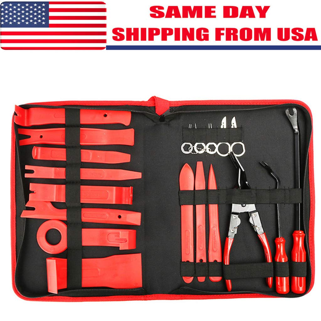Accuyc Car Trim Removal Tool Set, 19 pcs Nylon Car Panel Removal Tools Kit for Car Door Panel Dash Audio Radio Removal Installer and Repair Pry Tools Kits with Storage Bag (Trim Removal Tool Set)