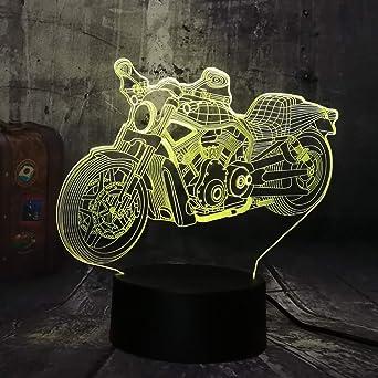 wangZJ Cool Motorcycle Moto Boy Toys 3D LED Luz de noche USB ...