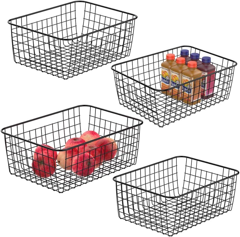 Wire Storage Baskets, iSPECLE Metal Wire Basket Freezer Baskets Storage Organizer Bins with Handles for Kitchen, Pantry, Closet, Laundry Room, Cabinets, Garage 4 Pack Black
