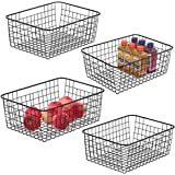 Metal Wire Basket iSPECLE Freezer Baskets Storage Organizer Bins with Handles for Kitchen, Pantry, Closet, Laundry Room, Cabinets, Garage 4 Pack Black