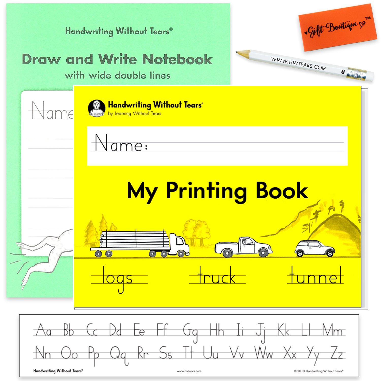 Handwriting Without Tears My Printing Book - Draw and Write Wide Double Line Writing Notebook - With Alphabet Desk Strips, Pencil for Little Hands, and Eraser - Kindergarten and First Grade Kit