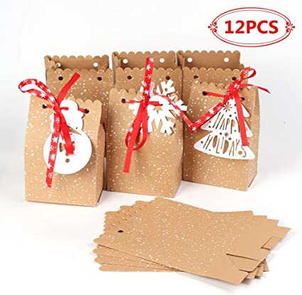 12PCS Merry Christmas New Year Goodie Bags Paper Gift Bags Treat Bag Supplies