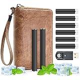 meicent(JP) USB充電式電子タバコ フレヴォスターターキット FLEVO 互換 禁煙セット 改良版カートリッジ6本 バッテリー2本 本革キャリングカバー 携帯便利 (アイスミントセット)