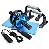 3 en 1 Roue Abdominal - Rouleaux d'Entraînement 3 Roues Gommées + Protection des Genoux Kit complet pour Fitness, Exercices, Musculation