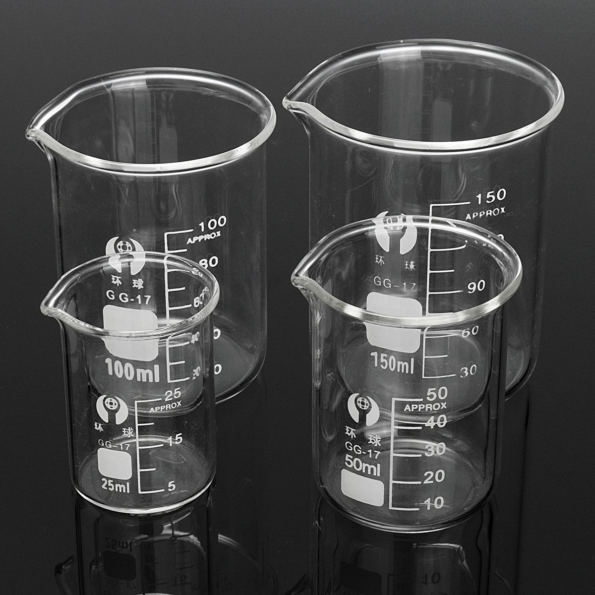 DIY 4Pcs Borosilicate Glass Beaker Volumetric Glassware For Laboratory