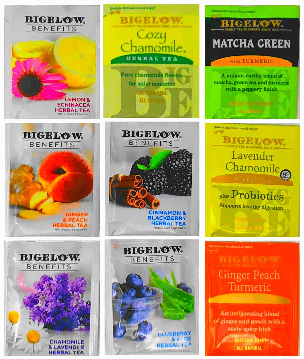 BIGELOW Tea Assorted Sampler Gift Box- 120 Individually Foil Wrapped Bags, 40 Different Flavors : Green Teas, Herbal Teas, Black Teas, Bigelow Benefits Teas and More. The Perfect Gift Set by ONDAGO (Image #4)