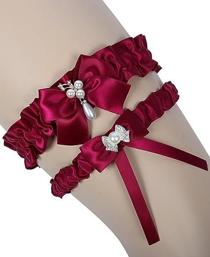 MerryJuly Burgundy Bridal Garter Toss Belt Set Satin Wedding Garters for  Bride
