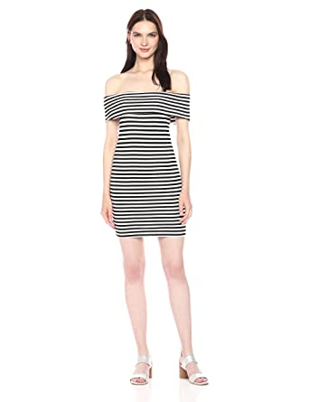 4ad8304cc9ee cupcakes and cashmere Women s Portola Striped Ponte Bodycon Off The Shoulder  Dress  Amazon.in  Clothing   Accessories