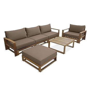 Salon de Jardin en Bois 5 Places - Mendoza - Coussins Taupe, canapé,  fauteuils et Table Basse en Acacia, 6 éléments modulables, Design