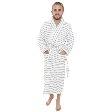 075b1095df Artemis Mens and Ladies Unisex Luxury Towelling Bathrobe Dressing Gown.  Cream Grey Stripe