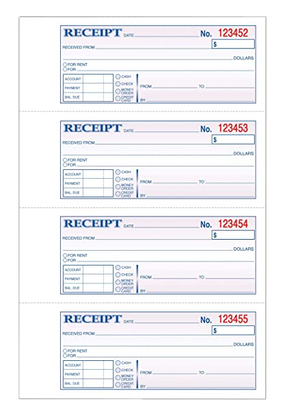 amazon com tops money rent receipt book 3 part carbonless 11 x