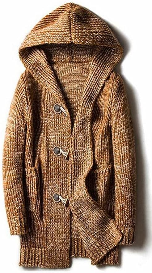 Abetteric Mens Thigh-Length Open Front Knitted Cardigan Trench Coat