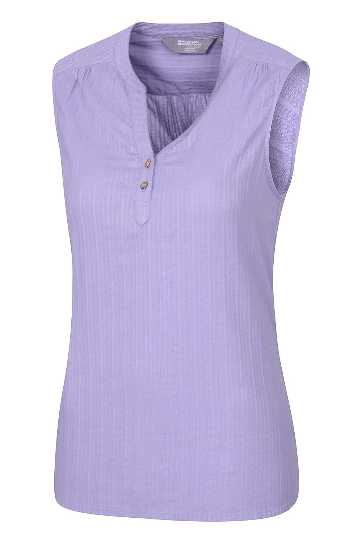 Camisa Ligera de Las se/ñoras Mountain Warehouse Petra Camisa de Sleeveless de Las Mujeres de Petra Tapa 100/% del Verano del algod/ón Breathable y Blusa Lavable