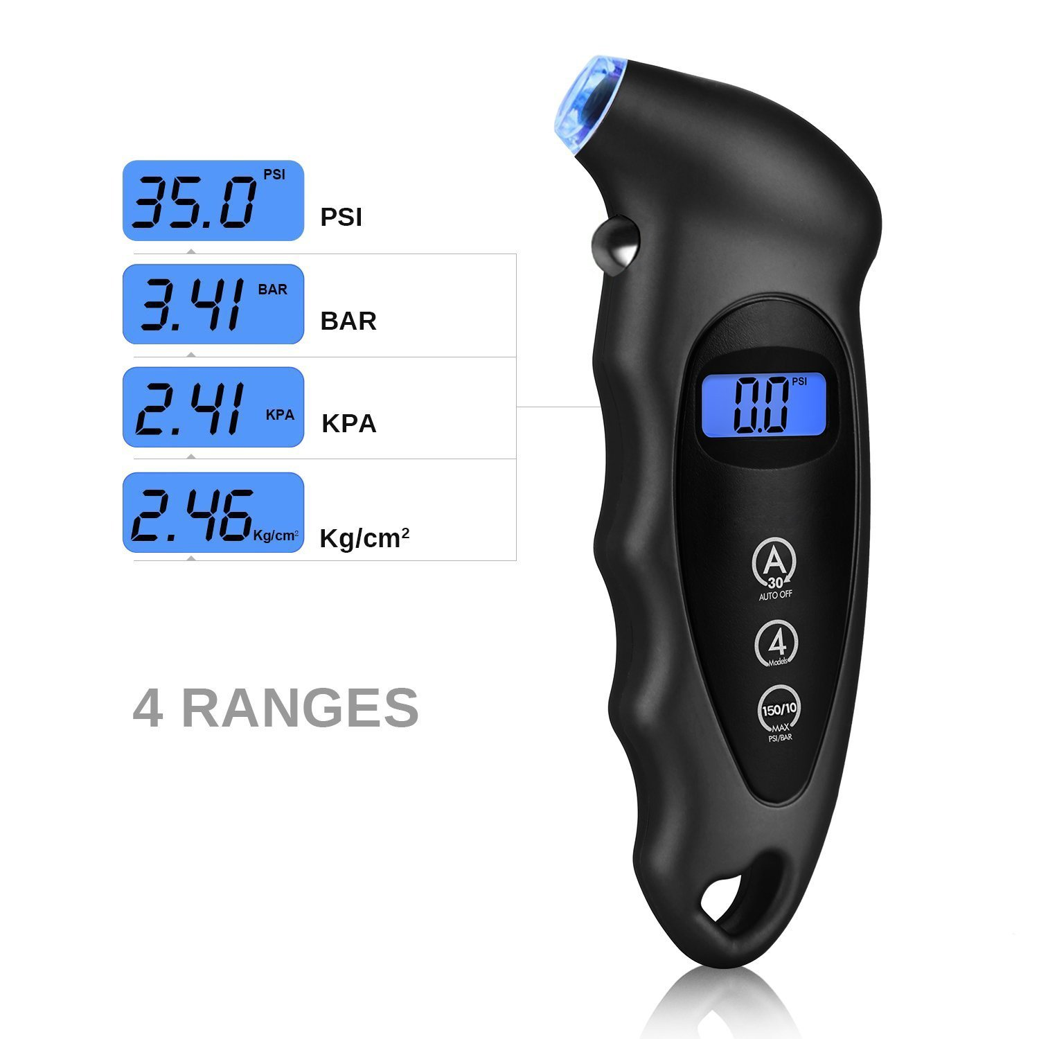 Digital Tire Pressure Gauge Best for Car Heavy Duty Air Gauge and Non-Slip Grip etc. Motorcycle Bicycle Maxesla Classic Tire Gauge Trongle 150 PSI 4 Settings with Backlight LCD Display