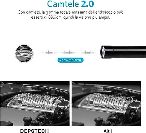 5 Metri Compatibile con Samsung//Android//iPhone//iPad DEPSTECH Endoscopio Wireless WiFi Megapixel 5MP HD Semirigido Telecamera di Ispezione Impermeabile