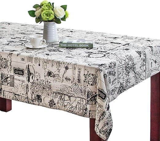Mantel rectangular de lino Toechmo, lavable, estilo vintage ...