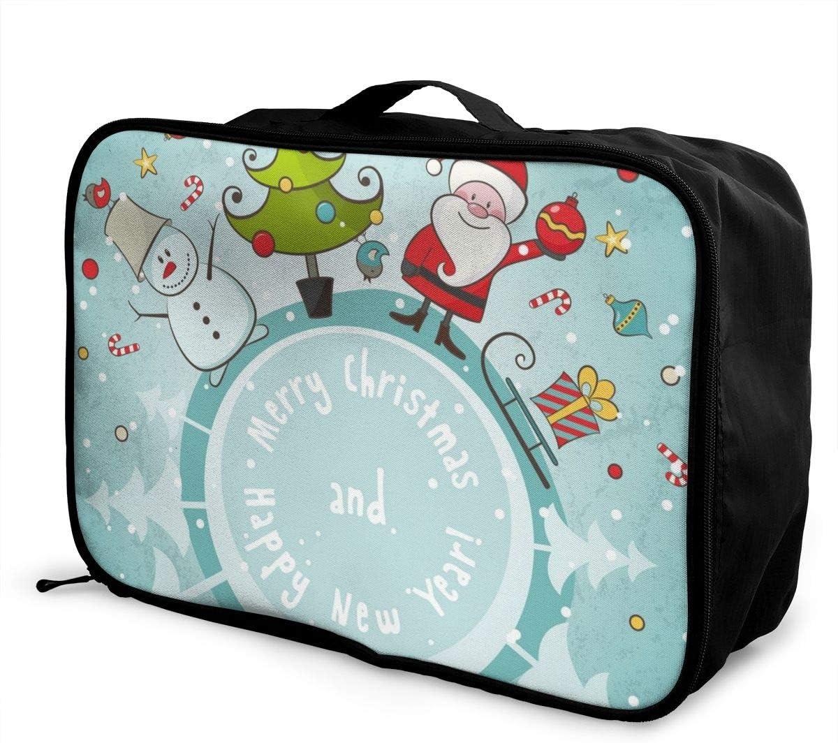 Yunshm Santa Claus Snowman Christmas Tree Holidays Customized Trolley Handbag Waterproof Unisex Large Capacity For Business Travel Storage