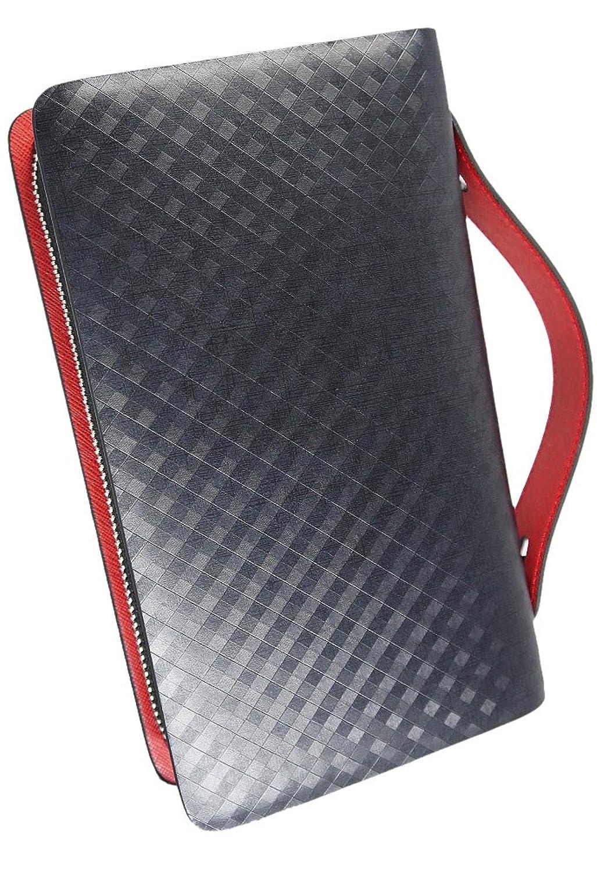 (ブリスレザー) BlissLeather 【一流のスペイン製レザー使用】高級 本革 アメジスト セカンドバッグ 財布 ダブルファスナー 多機能 ボックス付き 10083 B07DMJ65DF  レッド -