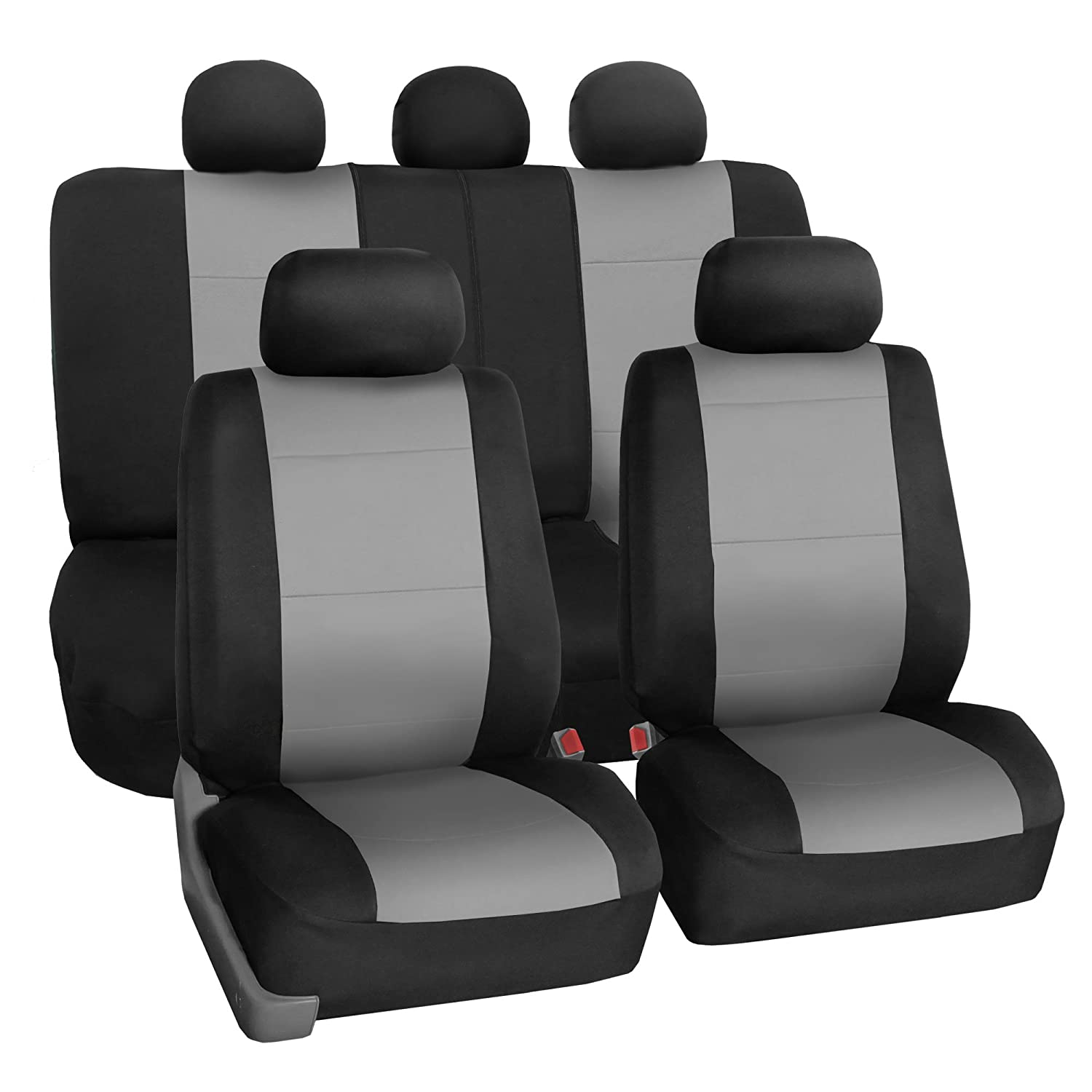 FH Group FB083GRAY115 Full Set Seat Cover (Neoprene Waterproof Airbag Compatible and Split Bench Gray)