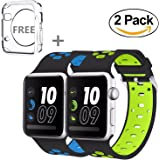 Apple Watch Band 42MM,JINGCI Sport Silicone Wristband Replacement Strap Adjustable Buckle and Quick Release for Apple Watch Nike+, Series 3/2/1, Sport, Edition, 2 Pack (42MM-black/green+black/blue)