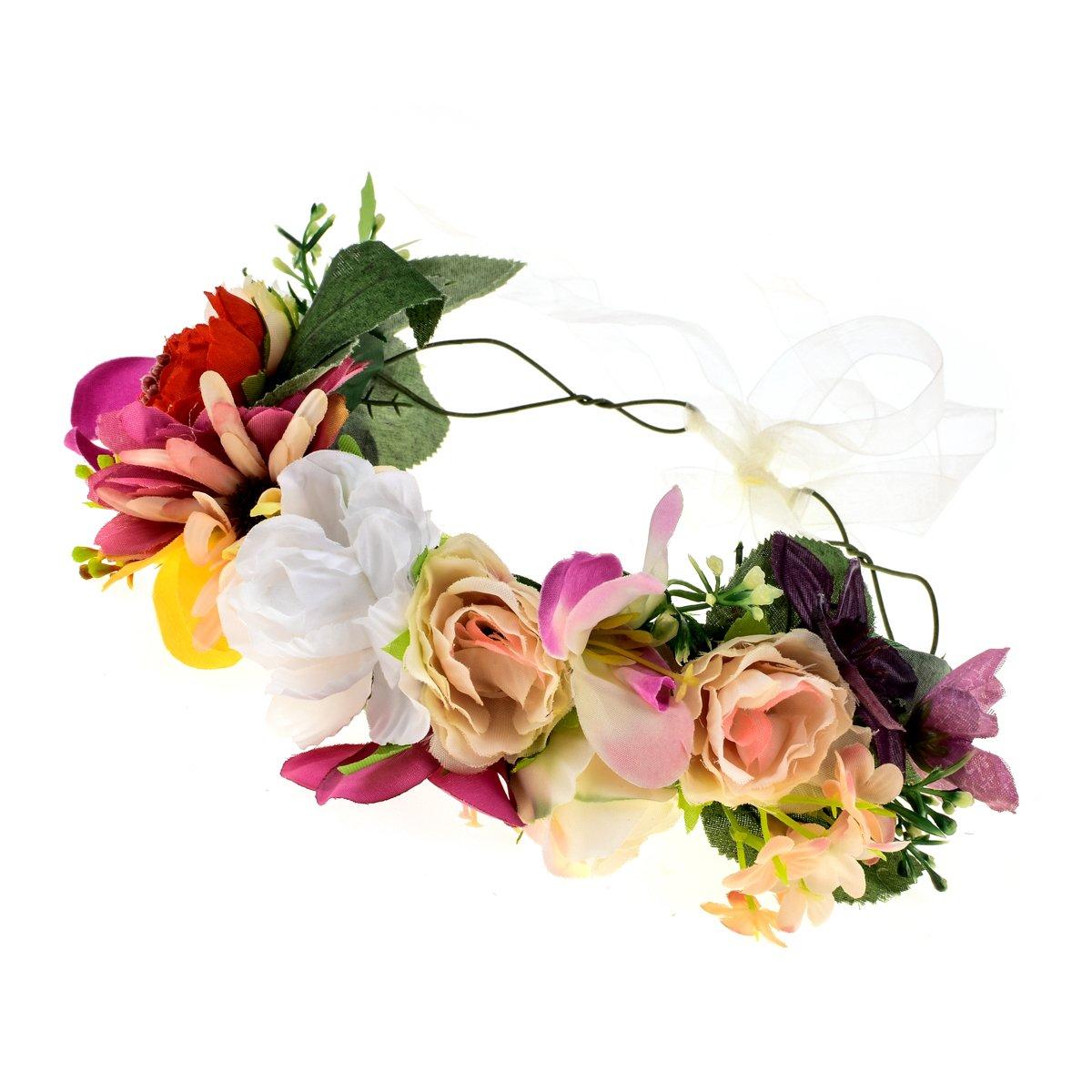 Merroyal Flower Girl Crown Bride Floral Crowns Maternity Bridesmaid Hair Wreath Wedding Photo Props