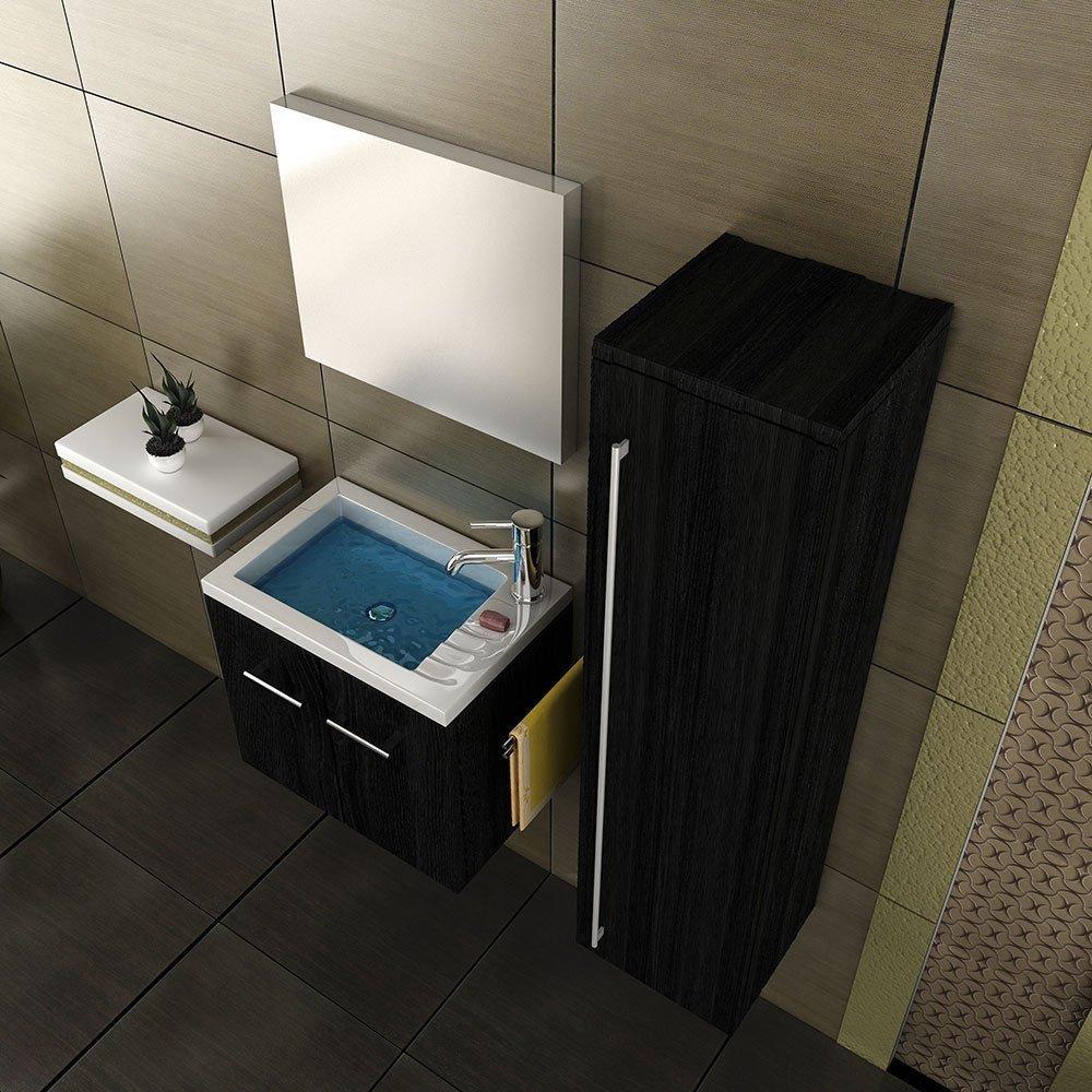 Waschbecken mit Unterschrank edles Furnier schwarz & Spiegel Gäste ...