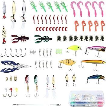 Juego de señuelos de Pesca con Caja de anzuelos y Tijeras, de la Marca Generic Shermen: Amazon.es: Electrónica