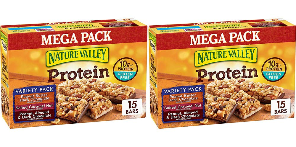 Nature Valley Peanut Butter Dark Chocolate, Salted Caramel Nut, Almond & Protein Chewy Bars, 15 Bars (2 Boxes)