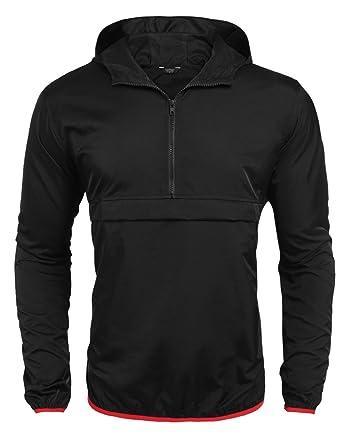 Pagacat Rain Jacket for Men Waterproof Hooded Raincoat Cycling Carry Poncho Coat (Black, Small