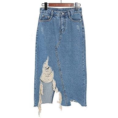 0eba013636 Kenavinca Spring Summer Fashion Women Ripped Hole Irregular Denim Skirt  Casual Tassel Skirts Vintage Jeans A-line Skirts at Amazon Women's Clothing  store:
