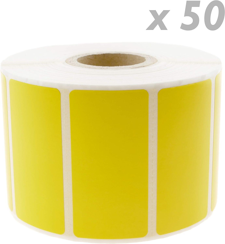 KU053 BeMatik Rotolo di 1100 etichette adesive per stampante termica diretta 50,8 x 25,4 mm giallo 50 unit/à
