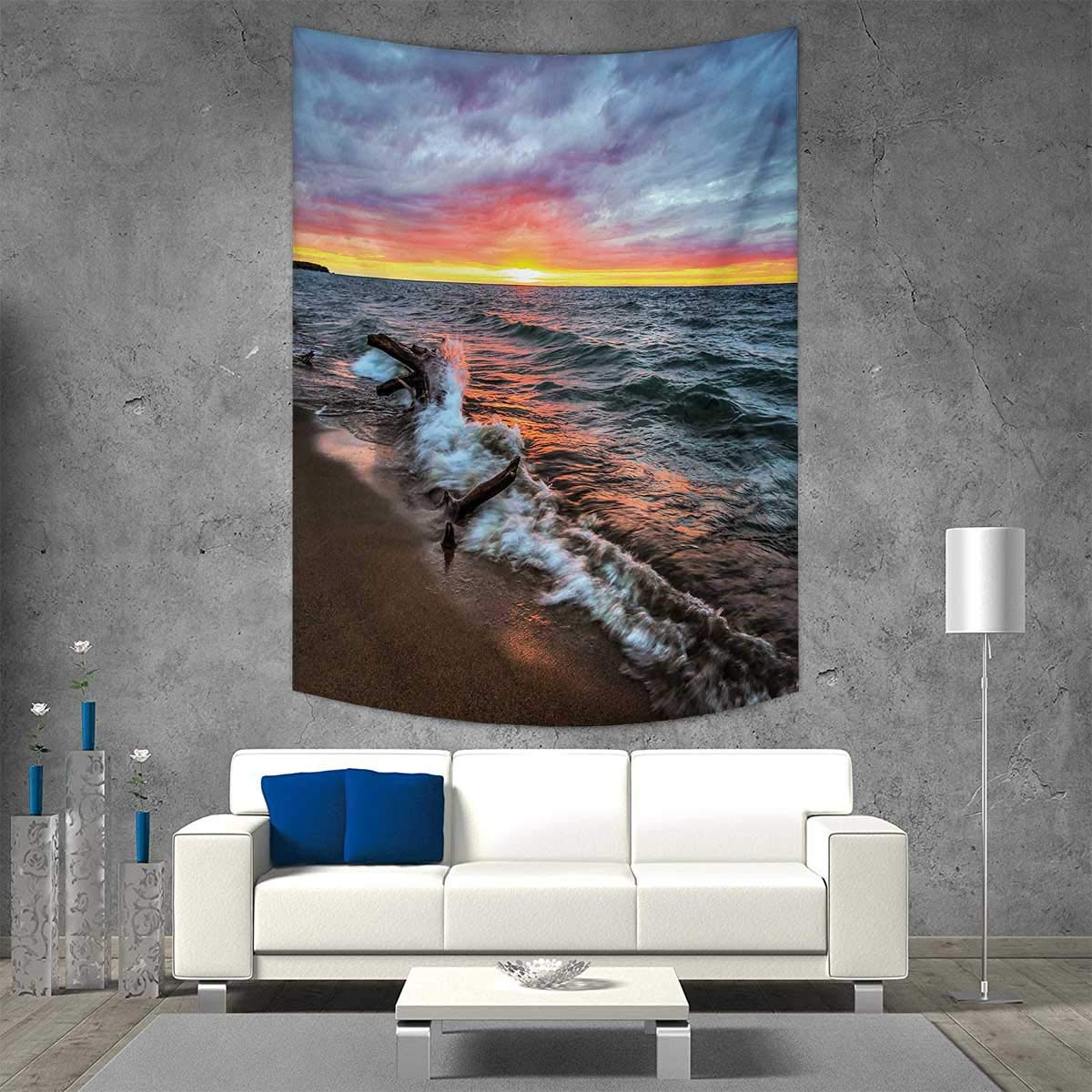 smallbeefly Driftwood Beach Throw Blanket Driftwood on The Shores of The Lake Set Against The Sunset Horizon Image Vertical Version Tapestry 40W x 60L INCH Blue Grey Orange
