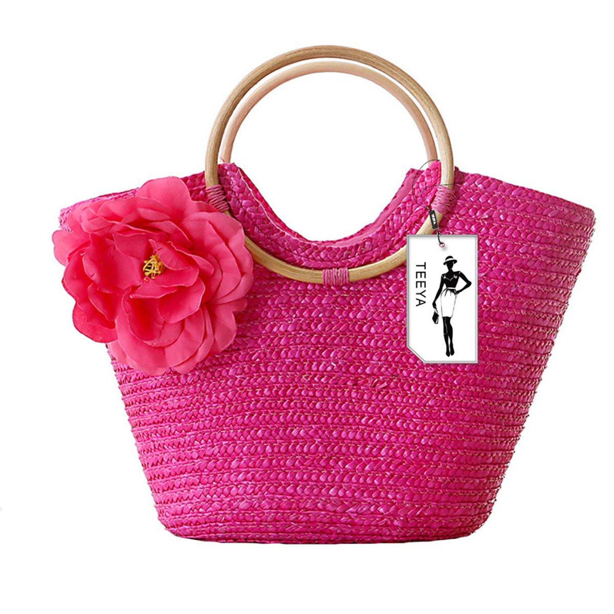 Femmes Paille Sac à main Fleur Tissés Summer Plage Messager Tote Sac Panier Shopper Sac