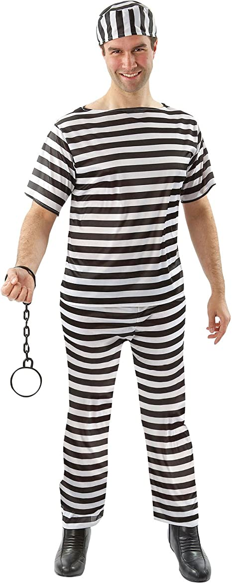 Prisoner Criminal Outlaw Halloween Jail Convict Adult Men Fancy Costume One Size