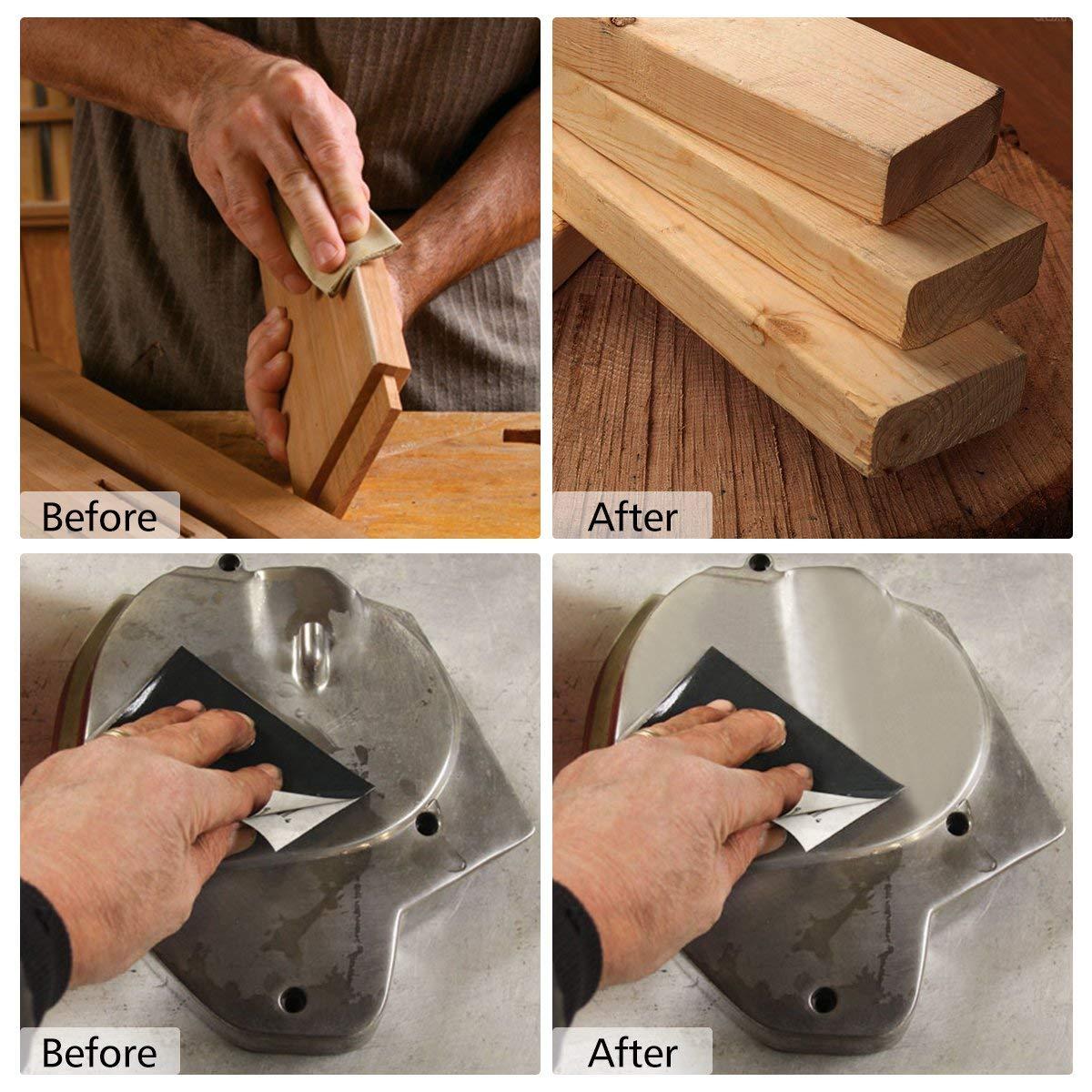 grain 120 /à 3000 finition de meubles en bois et finition de tournage du bois polissage rouill/é Lot de 14 papiers abrasifs imperm/éables /à sec et humides pour pon/çage automobile