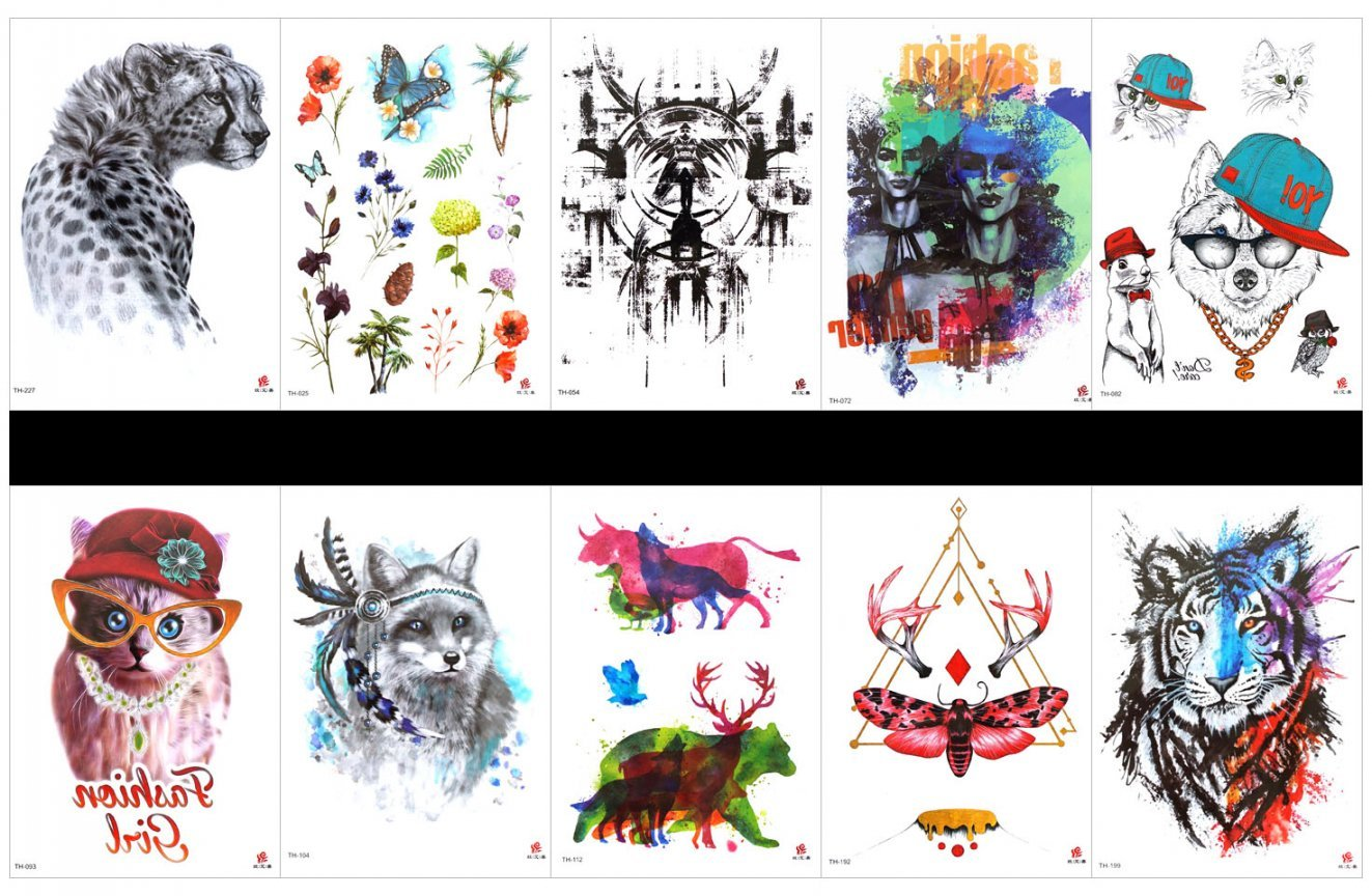 SPESTYLE 10pcs tattoo tiger tattoos waterproof and non toxic real fake tattoos in 1 packages,including totem, cartoon,lady,cartoon cat,wolf,cow,deer,butterfly,tiger,leopard,flower with butterfly,etc.