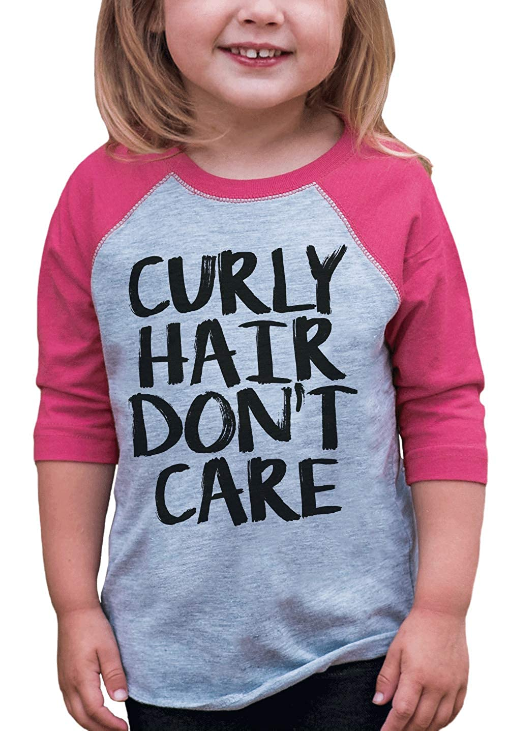 7 ate 9 Apparel Funny Kids Curly Hair Don't Care Baseball Tee Pink
