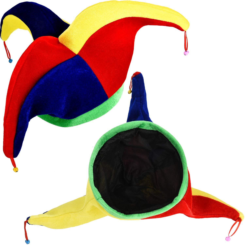 Tatuo 2 Pieces Jester Clown Hats Mardi Gras Hat Multicolor Costume for Halloween Dress Costume Accessory