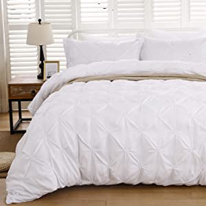 White Pintuck Comforter Set King, Pinch Pleat Solid Comforter with 2 Pillowcases for All Season, Luxury Microfiber Comforter Bedding Duvet Set (King Size, 3 Pieces)
