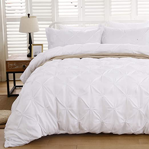 White Pintuck Queen Size Comforter Pillow Cases Set Quilted Soft Warm Bed Home