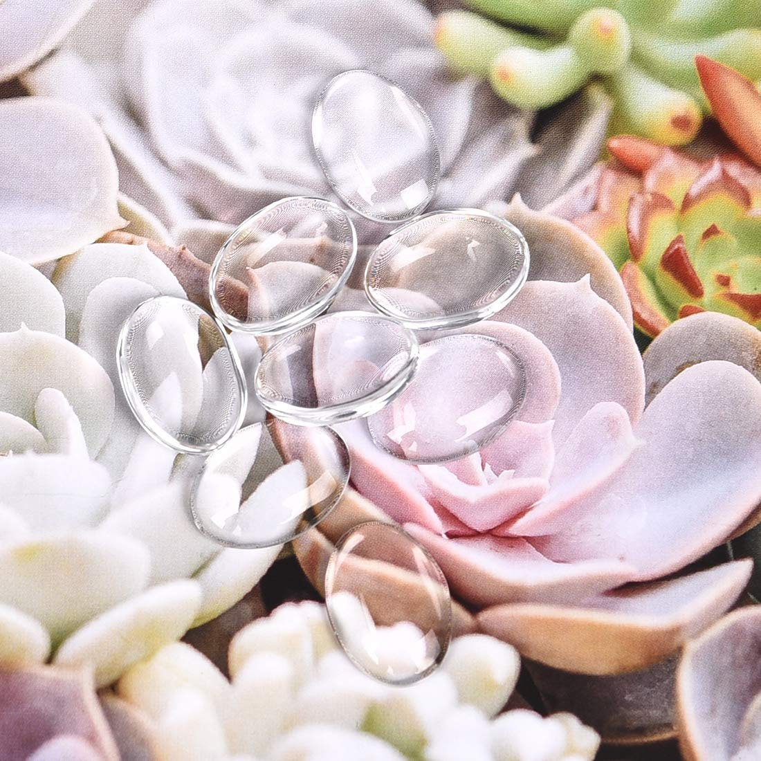 Round Glass Oval Cabochons,Crystal Clear Round Cabochon Flat Back Glass Dome Tile Jewellery Making 6mm 100Pcs