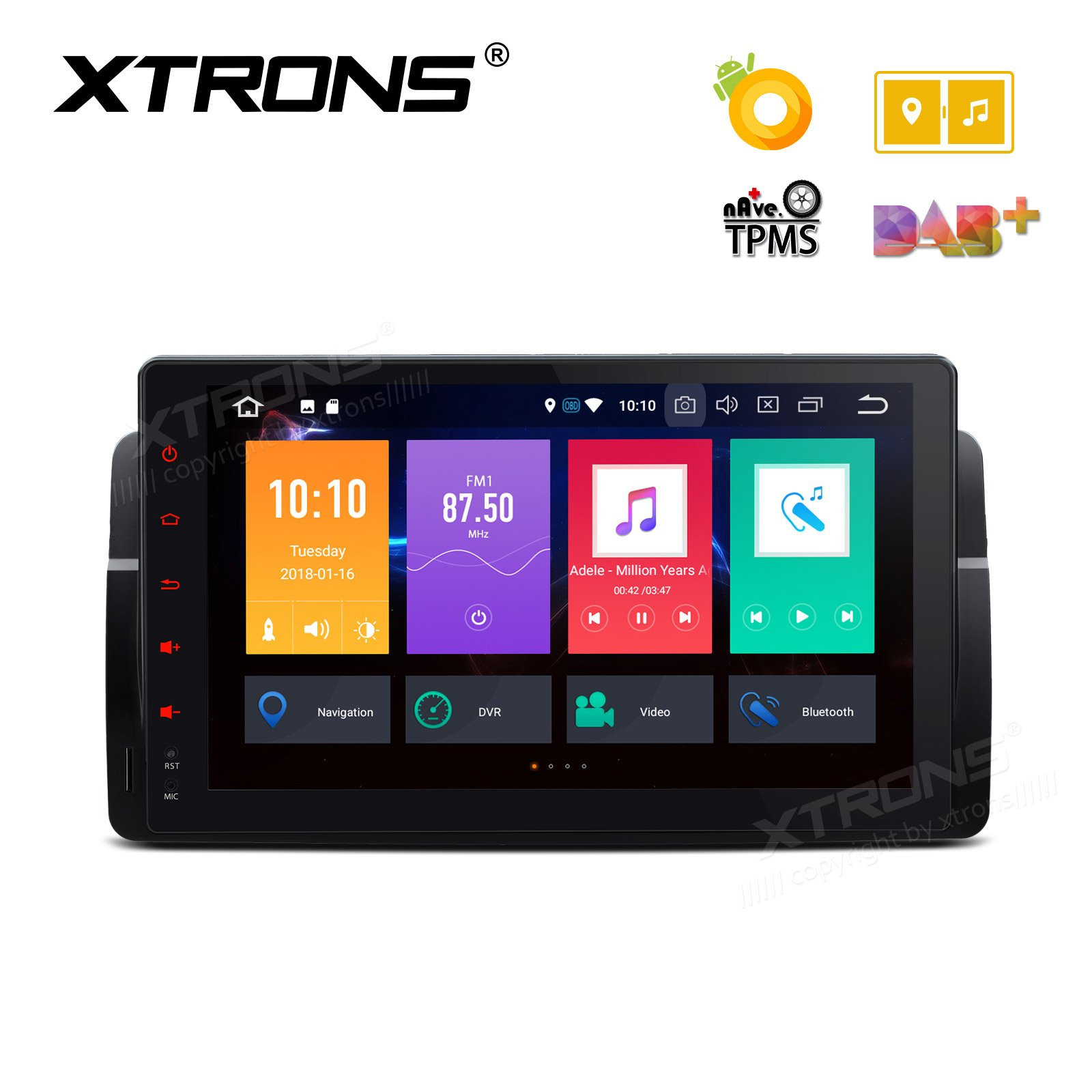 XTRONS 9'' Android 8.0 Octa Core 4G RAM 32G ROM HD Digital Multi-touch Screen OBD2 DVR Car Stereo Player Tire Pressure Monitoring Wifi OBD2 NO-DVD for BMW E46 3er M3 Rover75 MG ZT