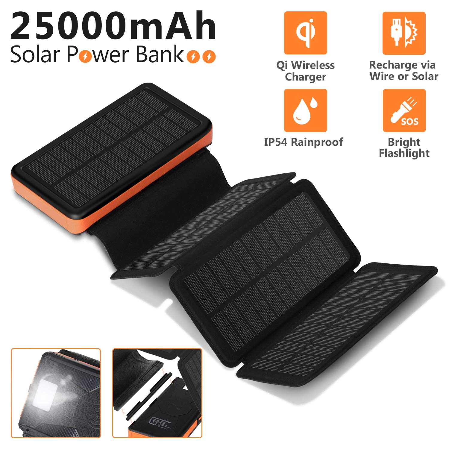 AMAES 25000mAh Solar Charger 7W,4-Panel Detachable Qi Wireless Charger External Battery,Dual 2.4A Output,Type-C Input/Output,Flashlight,IP54 Rainproof by AMAES