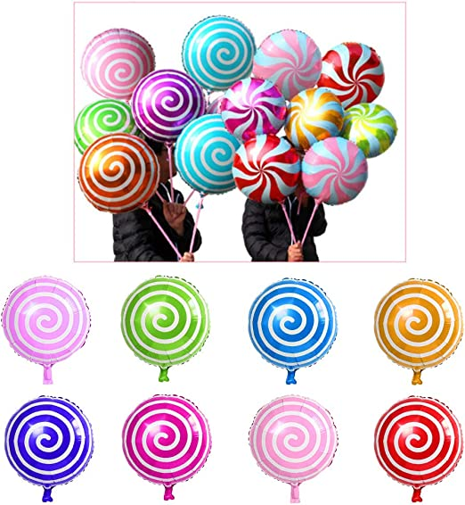 Including 16pcs Round Lollipop Balloons and 8pcs Candy Lollipop Balloons Aluminum Balloons 24pcs Sweet Candy Balloons for Birthday Wedding Parties LiPang